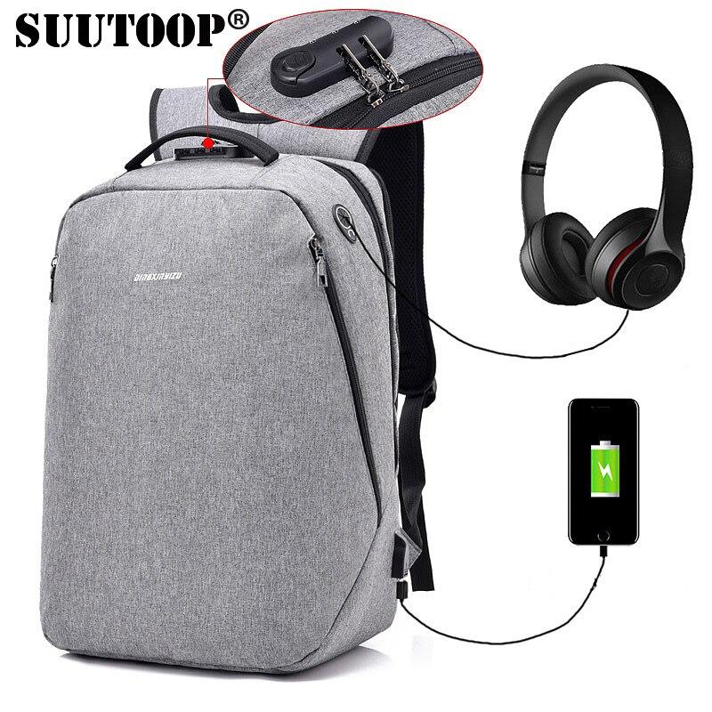 SUUTOOP New men backpack anti theft External USB charge port laptop backpack Waterproof Simple Business bags school Travel bag