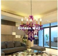 Free Shipping Purple Tiffany Pendant Lamp 3 5 9 12 Heads Lights Vintage Acrylic Crystals Purple