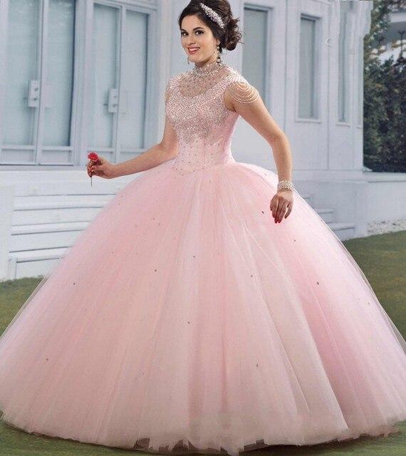 Rosa hinchada 2016 Vestido de Quinceañera Princesa Rhinestone ...