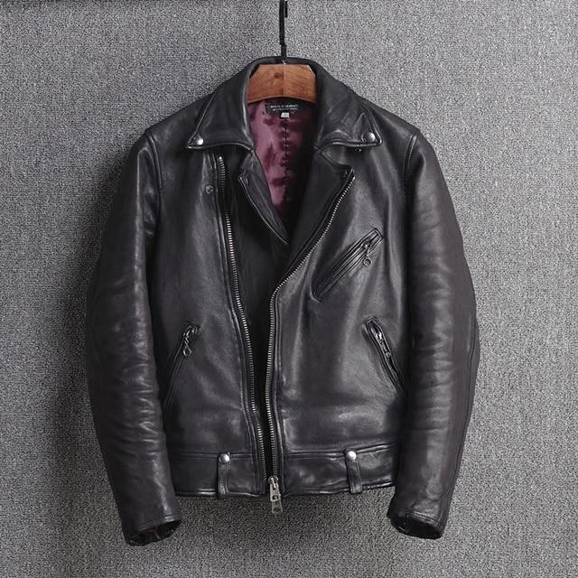Japanese Style Slim Fit Genuine Leather Motorcycle Jacket Men