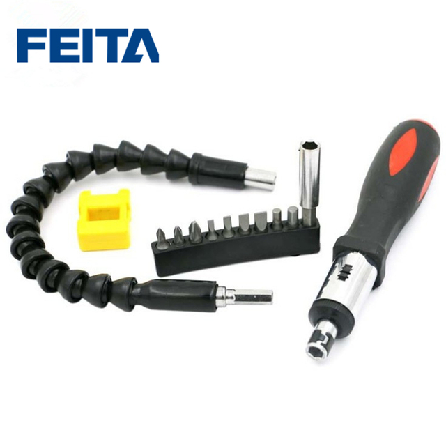 FEITA Two-way Ratchet Screwdriver Set Hand Tool Kit with Universal Flexible Shaft 9Pcs Screwdriver Bits Connected Rod Magnetizer