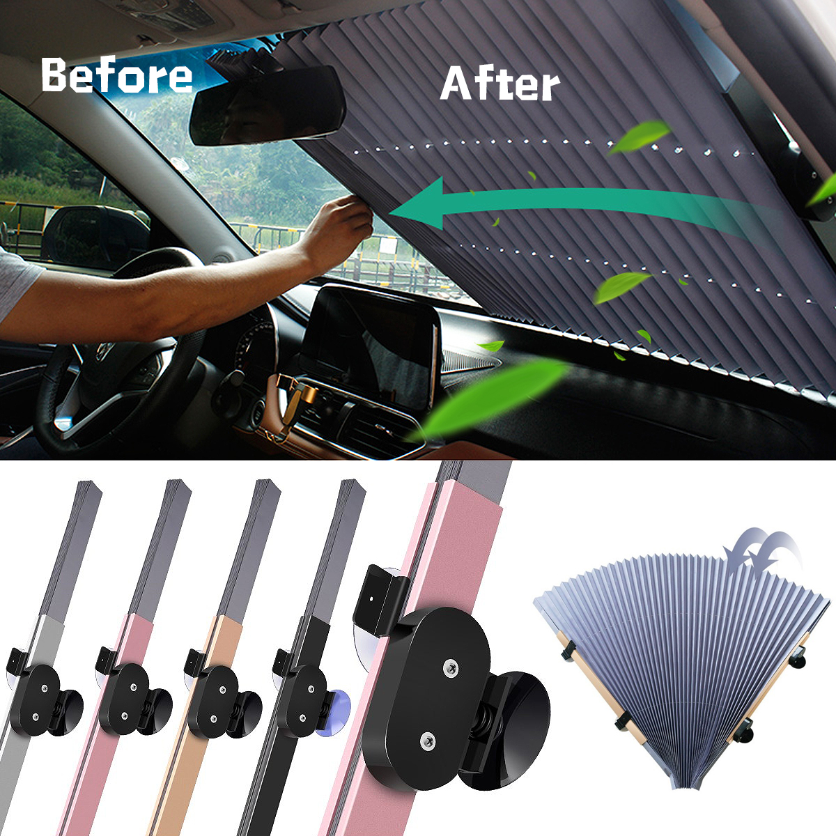 70*155CM Car Retractable Windshield Sun Shade Block Sunshade Cover Front/Rear Window Foil Curtain for Solar UV Protect Sunshades modified car trunk cover material curtain separated block for great wall c20r