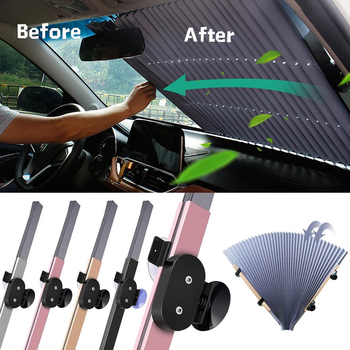 70*155CM Car Retractable Windshield Sun Shade Block Sunshade Cover Front/Rear Window Foil Curtain for Solar UV Protect Sunshades