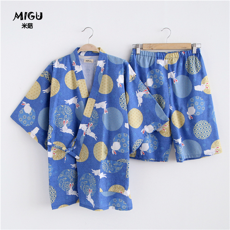 Summer Japanese style Couple pajamas sets 100% Cotton Half sleeve Rabbit kimono Womens Pyjamas Home Clothing Sleepwear Female
