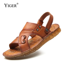 YIGER New men leisure sandals beach slippers summer genuine leather Tendon soft bottom male casual  0330