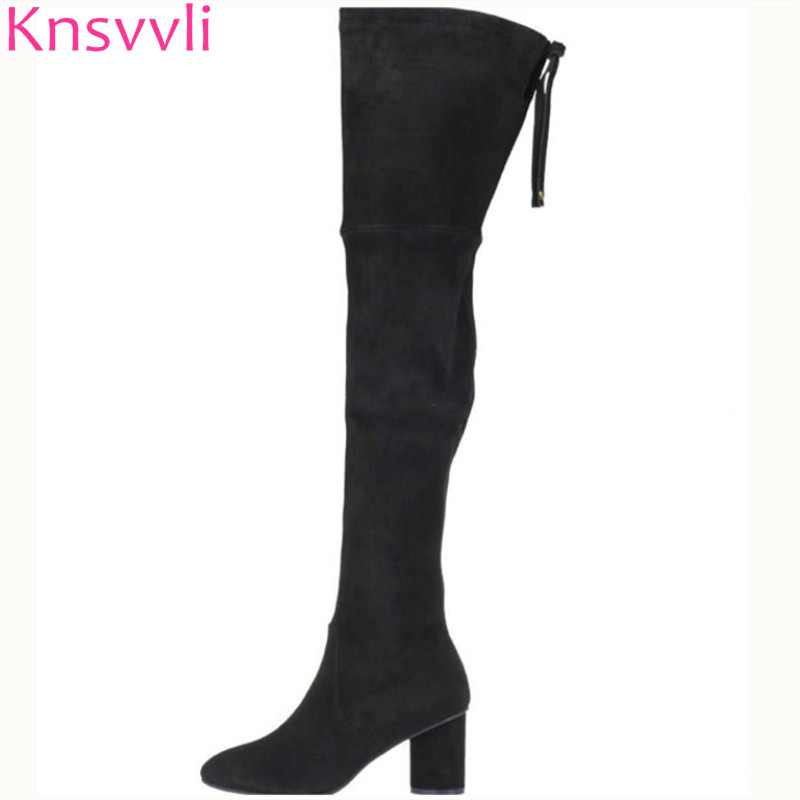 Knsvvli women high heel over the knee boots round toe lace up bowknot black camel color botas mujer stretch thigh high boots