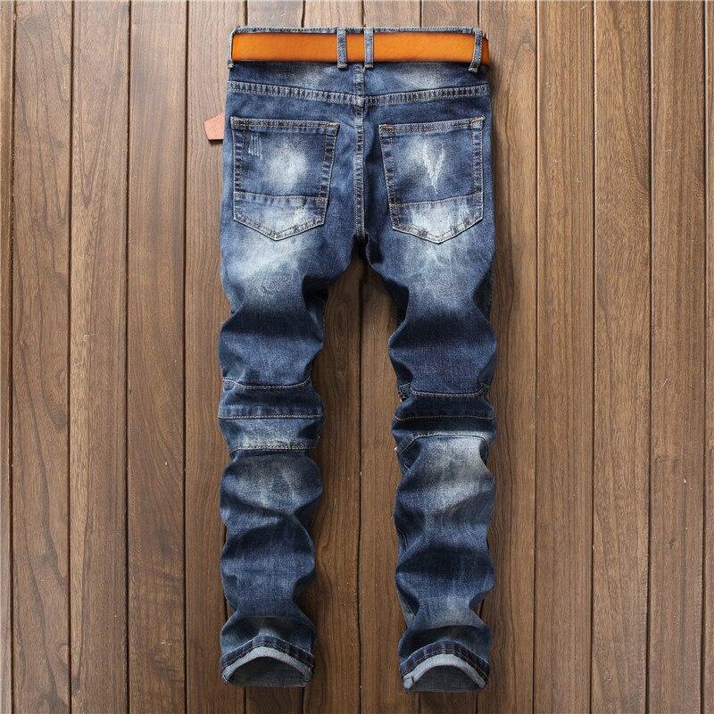 Nouveau Micro Bleu Multi Style Poches Hommes 2018 Punk Vente Chaude zipper Rétro De Jeans Spliced Mode Mince Pantalon Stretch qw6pBX