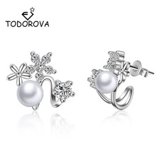 Todorova Korean Fashion Imitation Pearl Stud Earrings for Women Small Daisy Flower Crystal Zircon Earring Female Wedding Jewelry