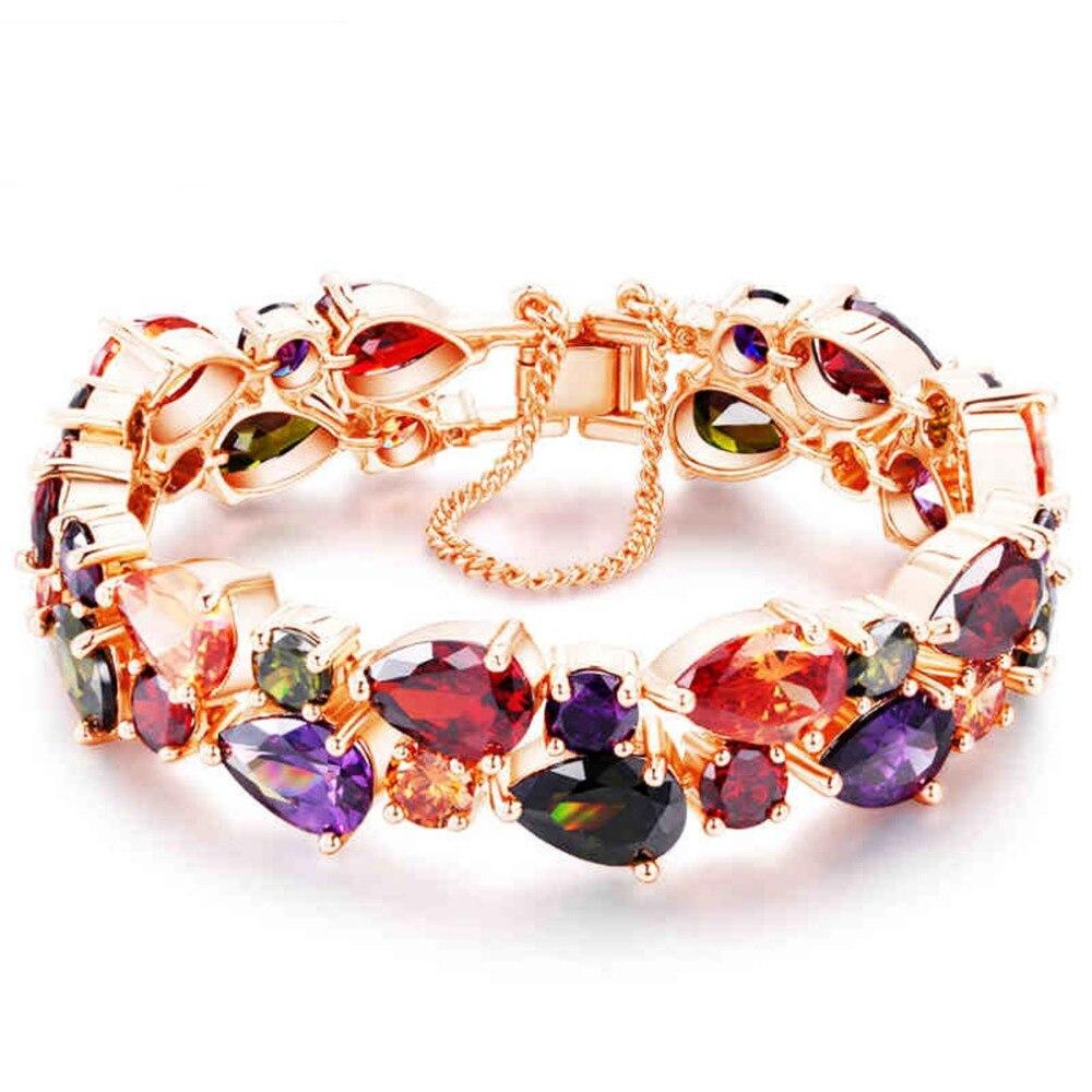 Hermosa Jewelry Tennis Bracelet Colorful 925 Sterling Silver Rose Gold Bracelet 7/8 Adjustable Bracelet, Free Shipping. hermosa jewelry tennis bracelet 925 sterling silver bracelets 7 inch qa13