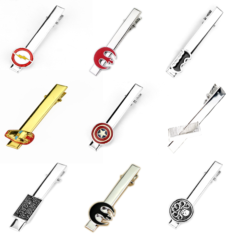 Star Wars Series Tie Clips For Men's Shirt Wedding Hair Dresser Cosmetolo Iron Man Figure Tie Clip DIY Accessories Decorations