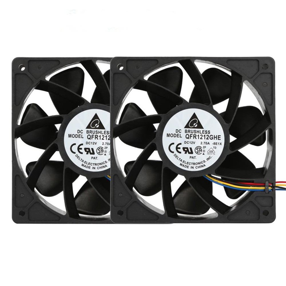 Hot sale 2x 6000RPM pc cpu cooler <font><b>120</b></font> <font><b>mm</b></font> <font><b>fan</b></font> Cooling <font><b>Fan</b></font> Replacement <font><b>4</b></font>-<font><b>pin</b></font> Connector For Antminer Bitmain S7 S9 for video card image