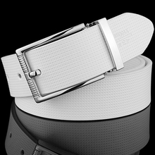 [K]2017 Fashion Men Belt White Classic Pin Buckle Design Belts For Metal buckle Black Leather Waistband casual ceinture