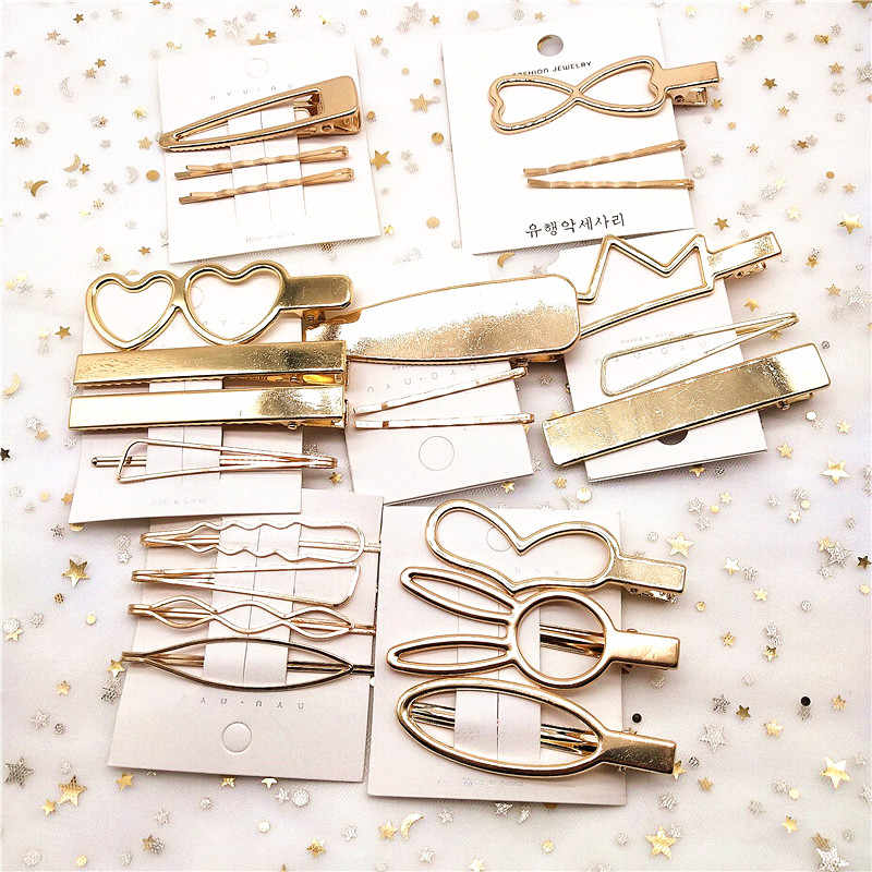 F221 4Pcs/set Korea Simple Metal Hair Clips for Women Geometric Rhombus Gold Silver Color Hairpins Vintage Hair Accessories