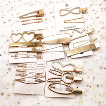 F221 4Pcs/set Korea Simple Metal Hair Clips for Women Geometric Rhombus Gold Silver Color Hairpins Vintage Accessories
