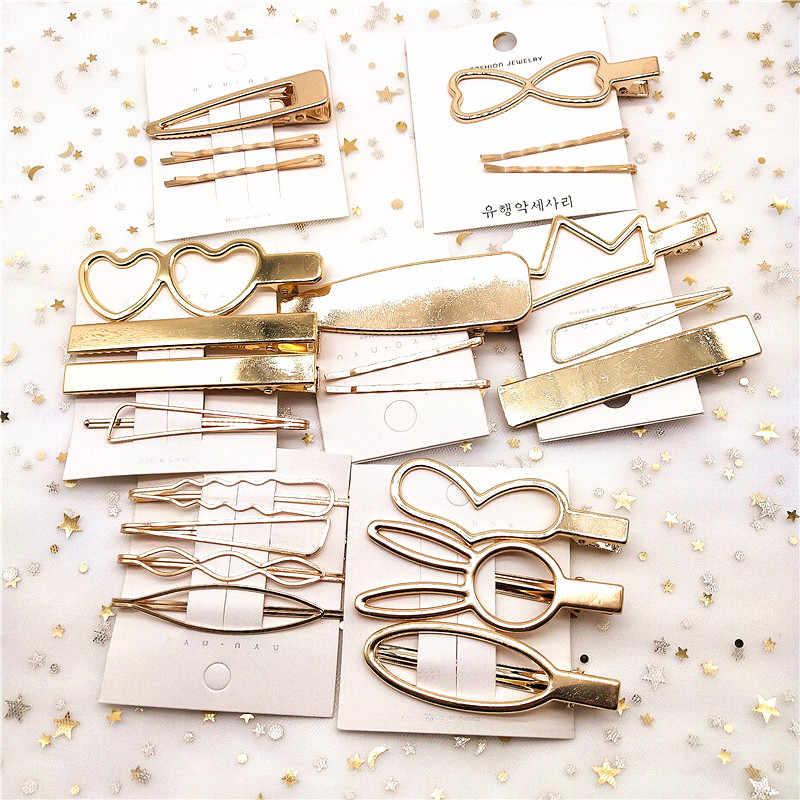 F221 4Pcs/set Korea Simple Metal Hair Clips for Women Geometric Rhombus Gold Silver Color Hairpins Vintage Hair Accessories
