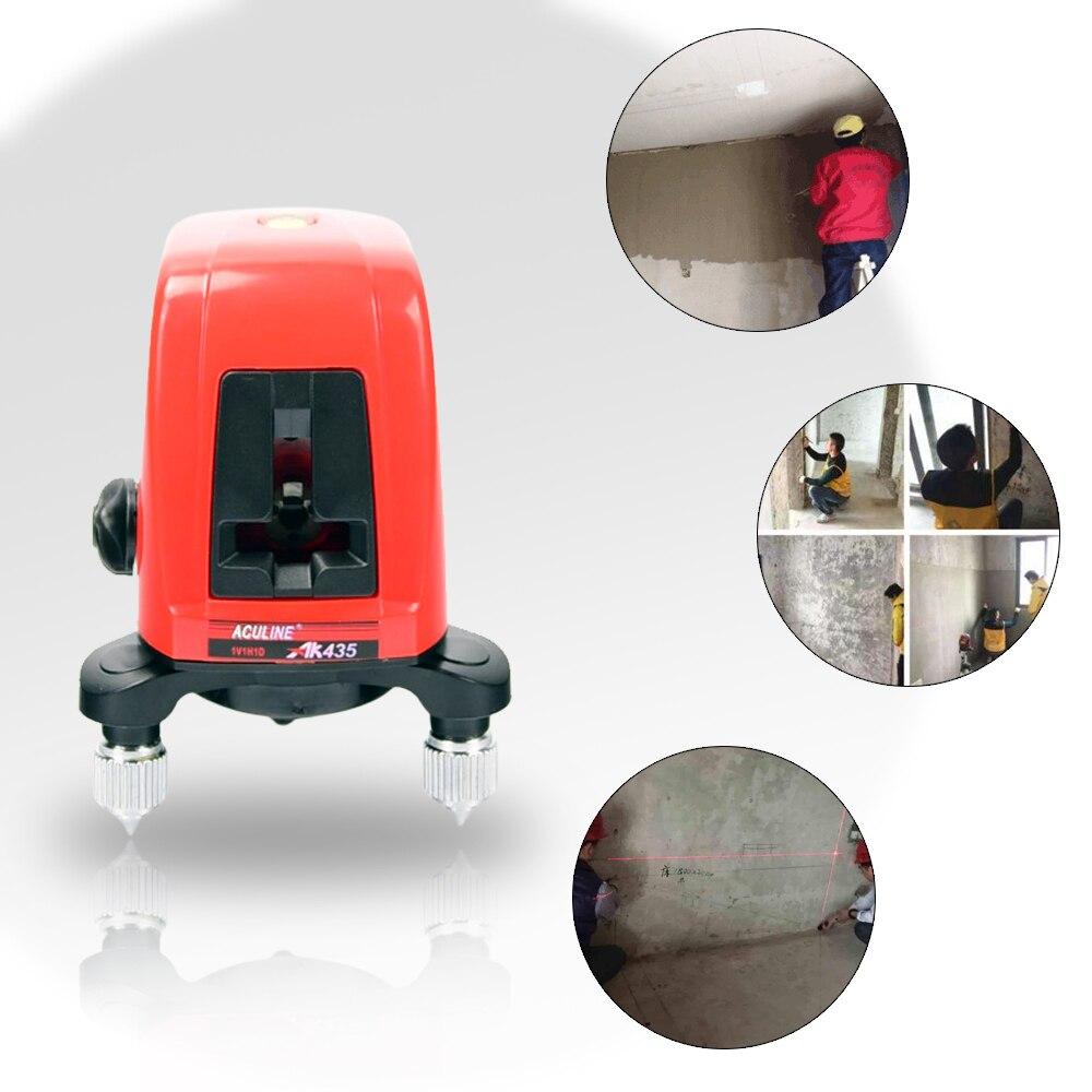 AK435 nivel láser Mini portátil de 360 grados línea de láser cruzado 2 Línea 1 punto Horizonatal roja Vertical línea nivel láser