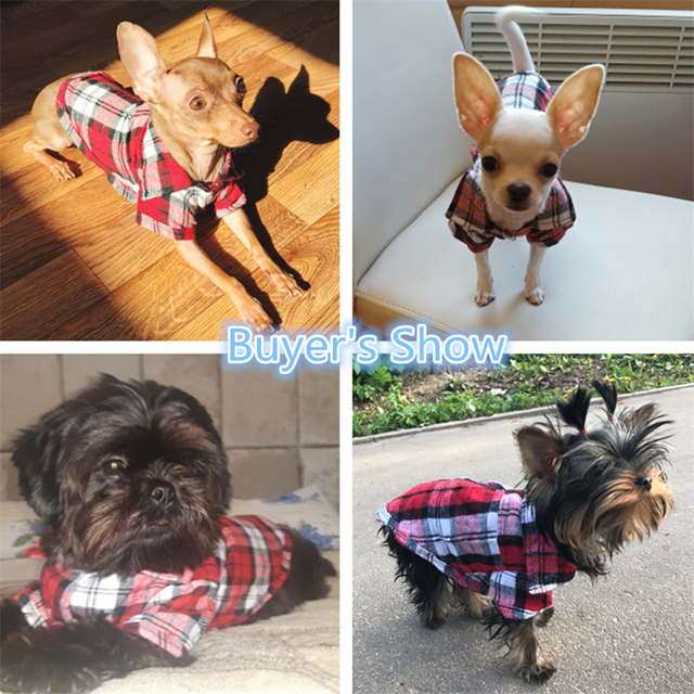 1 PC Pet Clothes For Small Dogs Cats Hot Selling Cute Pet Dog Puppy Clothes Shirt Plaid Size XS/S/M/L Blue Red Color D19