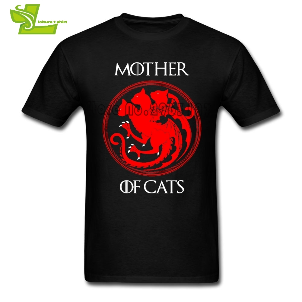Mother Of Cats Game Of Thrones House Stark T Shirt Teenage New Arrival Tshirts T-Shirts Men's Short Sleeve Graphic Dad Tops