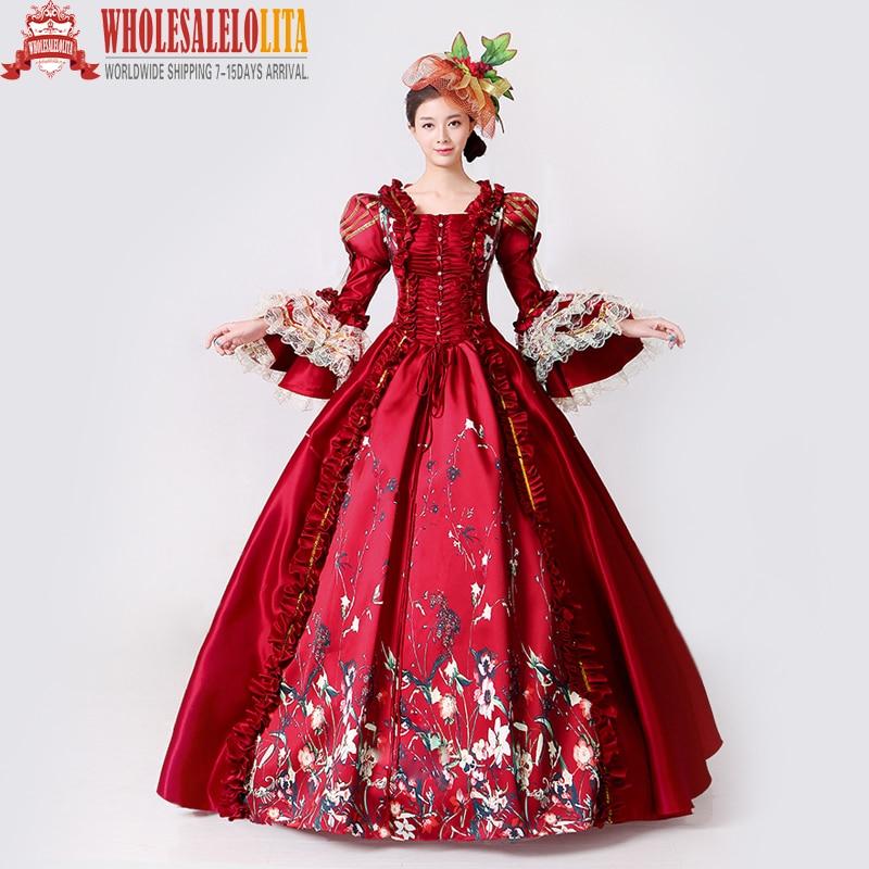 Brand New Red Lace Tryckt Marie Antoinette Klänning Southern Belle - Särskilda tillfällen klänningar
