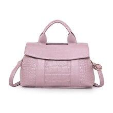 แฟชั่นผู้หญิงสบายๆกระเป๋าจระเข้กระเป๋าหนังสีแดงยอดจับกระเป๋าC Rossbody Messengerได้กระเป๋าสะพายBolsa Feminina