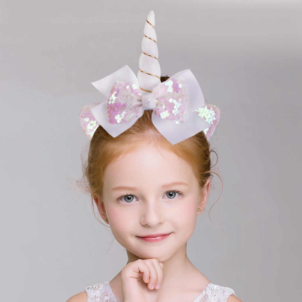 QIFU 1pcs Meninas Grandes Arcos de Lantejoulas Glitter Decorações Crianças Festa de Aniversário Chifre de Unicórnio Unicórnio Headband Hairband Acessórios Para o Cabelo