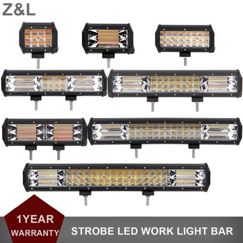 STROBE FLASH LED WORK LIGHT BAR CAR 4X4 4WD TRUCK SUV PICKUP AMBER WHITE DUAL COLOR INDICATOR DRIVING FOG WARNING HEADLIGHT
