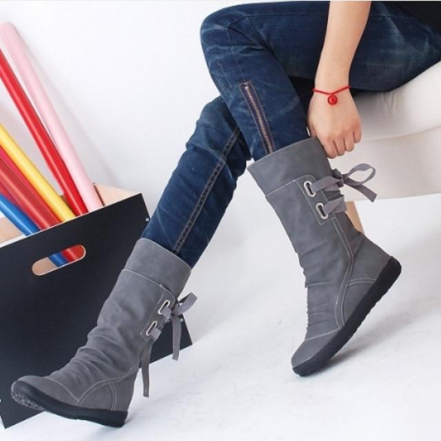 New Lady PU Boots Women Autumn Winter Boots Mid-Calf Solid Elegant Flat Heels