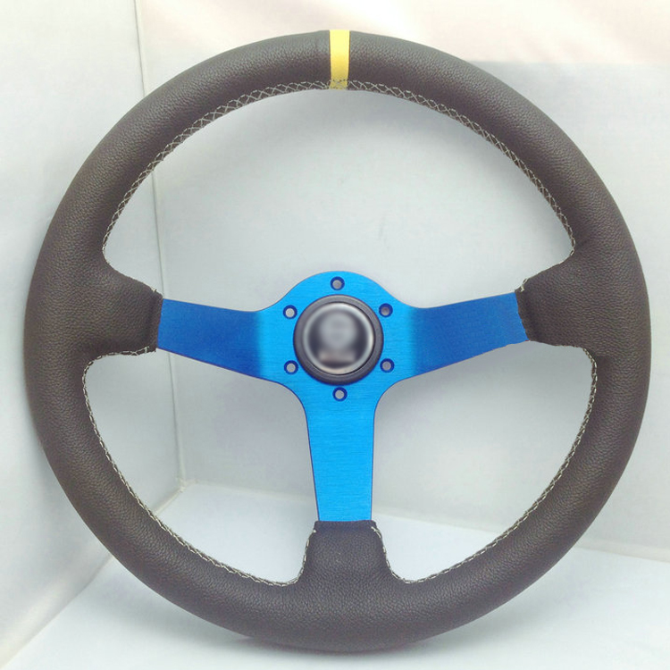 Universal Fits Racing Sport 13013A/330mm PU Leather Deep Dish Alloy Steering Wheel
