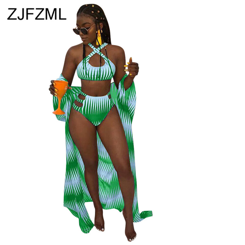 Tie Dye Print Sexy 3 Piece Matching Sets Women Halter Backless Crop Top And Panties Short And Long Cardigan Summer Beach Outfits