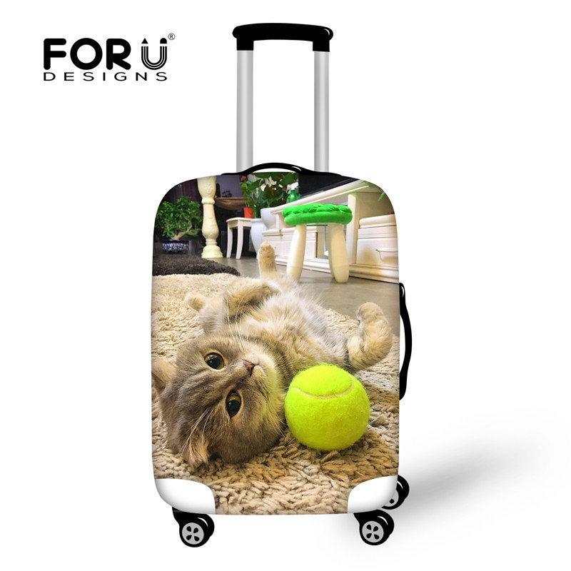 FORUDESIGNS Travel Accessories Kawaii 3D Pet Cat Trolley Case For 18