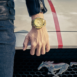 Image 5 - Relogio Masculino 2019 Men Watches Top Brand Luxury WWOOR Chronograph Big Dial Gold Male Wristwatch Sport Golden Men Watch 2019