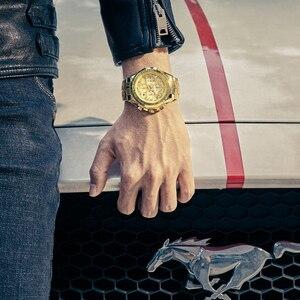 Image 5 - レロジオ masculino 2019 男性はトップブランドの高級 wwoor クロノグラフビッグダイヤルゴールド男性腕時計スポーツゴールデンメンズ腕時計 2019