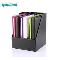 3 Slot PU Leather Desk File Holder Paper Tray Document Holder Cubbyhole Pigeonhole Organizer Rack Black A113