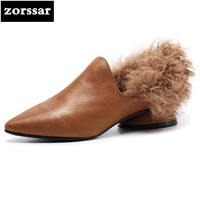 Zorssar 2018 New Arrival Genuine Leather Women Heels Pumps Pointed Toe Shallow Low Heel Shoes