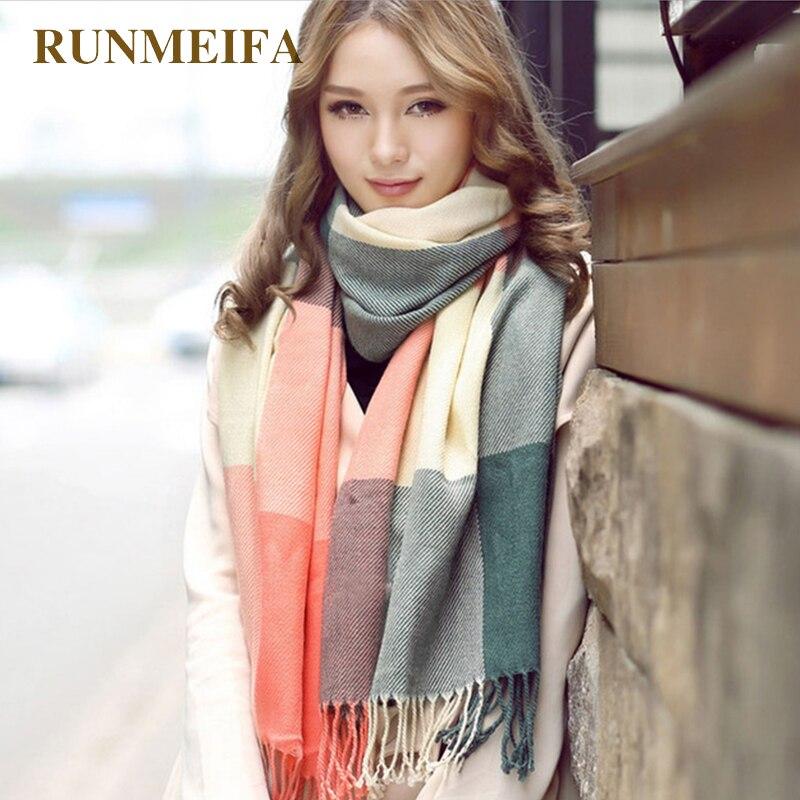 [RUNMEIFA] المرأة في فصل الشتاء سرق الأوشحة اللفاع اللفاع العلامة التجارية السيدات وشاح المرأة الكلاسيكية منديل شالات و الأوشحة
