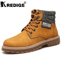 KREDIGE New Arrival Height Increasing Mens Martin Boots Non Slip Soles Trend PU Hight Shoes Hard