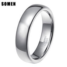 Somen Ring Men 6mm Tungsten Ring High Polished Silver Classic Wedding Band Engagement Rings Men's Fashion Jewelry Anel Masculino