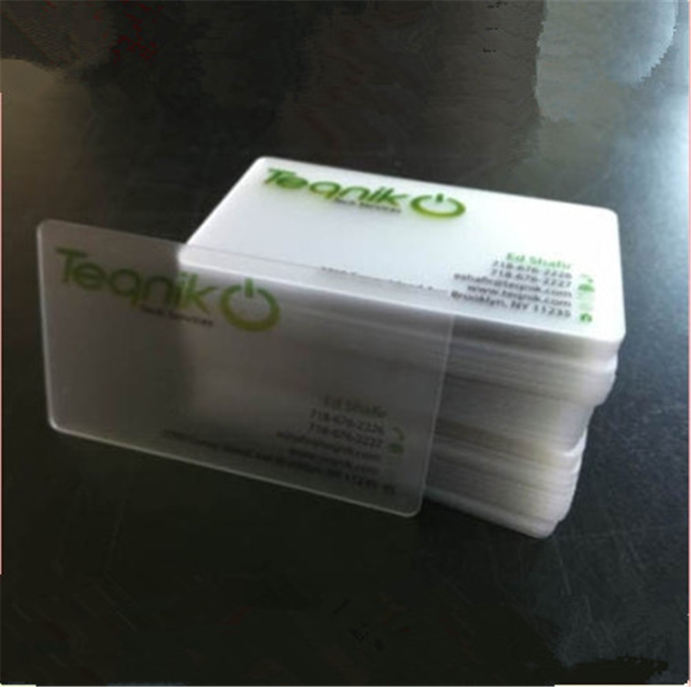 500pcs Wholesale 85.5*54mm one side full color plastic transparent pvc business card/pvc card/pvc card printing with your design-in Business Cards from Office & School Supplies    1
