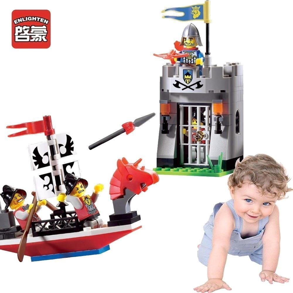Enlighten Knights Children Toys Boat Outpost For Gifts Knight Castle Blocks Building Fun assembling granule blocks