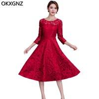 Panie odzież lace dress 2017 wiosna new fashion red black woman ubrania stały kolor kobiet koronki słowo dress plus rozmiar a296