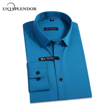 New Classic Bamboo Fiber Men Dress Shirt Solid Color Mans Social Shirts Office Wear Easy Care Regular Fit Male Outwears YN10227