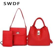 SWDF- 2019 Vintage Womens Handbags Fashion Brand Candy Shoulder Bags Ladies Totes Simple Trapeze Women Messenger Bag 3 pieces