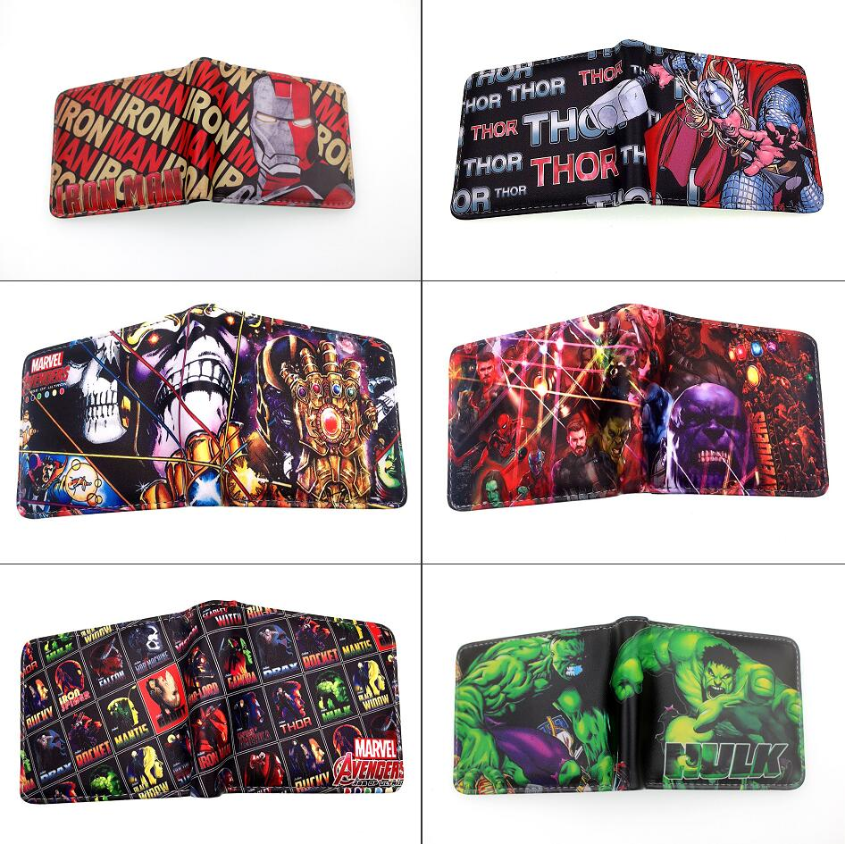 Short Wallet Purse Holder Coin-Pocket Photo-Card Bifold Thor Spider-Man Superhero:infinity