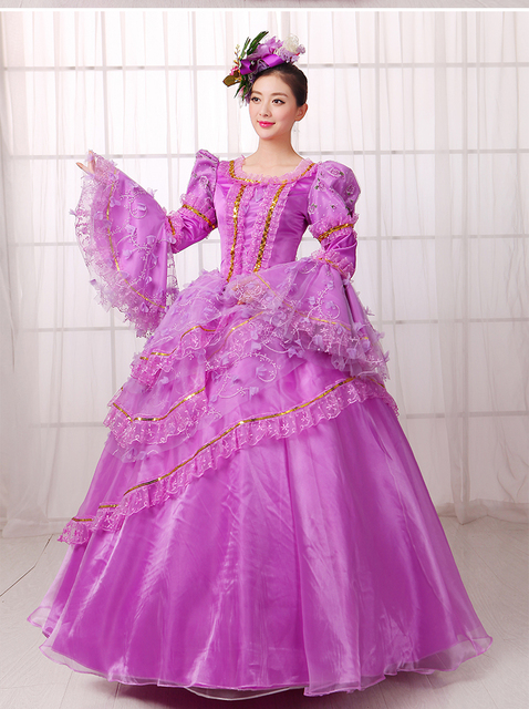 Light Purple Ruffled Lace Luxury Medieval Dress Ball Gown Siss Princess Gown Queen Cosplay Victorian Belle