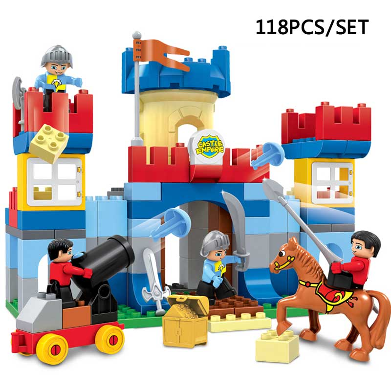Large Particles Castle Empire Duplo Building Blocks Prince Figures Large Size Bricks DIY Toy For Kids Gift Compatible Duplo diy 117pcs princess dream castle park larger particles building blocks toy kids girl best gift compatible with legoed duploe