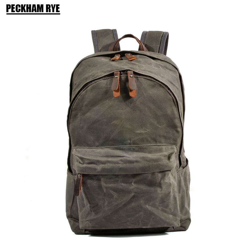 Waterproof oil canvas backpack for women men travel laptop backpacks school bags for teenage girls mochilas mujer 2018 bacisco men women backpack 16inch laptop backpacks for teenage girls casual travel bags daypack canvas backpack school mochila