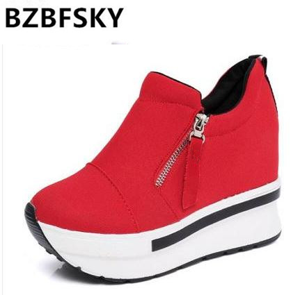 New Autumn 2016 Women Shoes Fashion Wedge Elevator Side Zipper Casual Shoes Women Single Shoes Wholesale free shipping