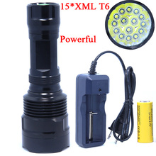 15T6 High Power 20000 Lumen 15 x XML T6 LED Flashlight Torch Waterproof Self-defense 5 Mode 26650 Battery LED Flash Light Lamp