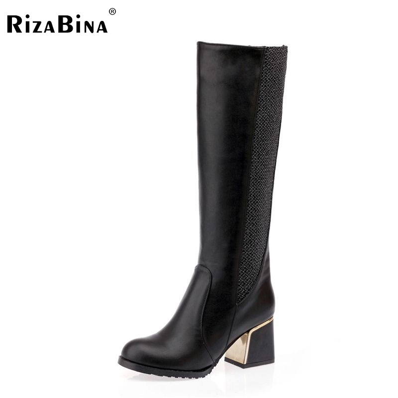 RizaBina women square heels over knee high heel boots women snow fashion winter warm footwear shoes boot P15645 EUR size 30-49 dark colour metal nylon messenger bag