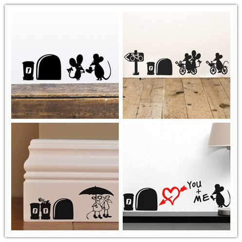 Divertente I Love You So Much Buco Del Mouse Wall Stickers Casa Living Room Decor 3d Stickers Murali Decorazione di Cerimonia Nuziale di Carta Da Parati In Vinile Murale